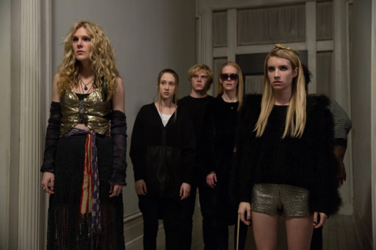 AMERICAN HORROR STORY: COVEN Go to Hell - Episode 312 (Airs Wednesday, January 22, 10:00 PM e/p) --Pictured: (L-R): Lily Rabe as Misty Day, Taissa Farmiga as Zoe, Evan Peters as Kyle, Sarah Paulson as Cordelia, Emma Roberts as Madison -- CR. Michele K. Short/FX