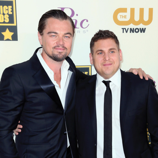 SANTA MONICA, CA - JANUARY 16:  Actors Leonardo DiCaprio (L) and Jonah Hill attend the 19th Annual Critics' Choice Movie Awards at Barker Hangar on January 16, 2014 in Santa Monica, California.  (Photo by David Livingston/Getty Images)