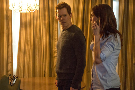 "THE FOLLOWING: In an attempt to find out more information, Ryan (Kevin Bacon, L) and Max (Jessica Stroup, R)  capture a suspect in the ""Reflection"" episode of THE FOLLOWING airing Monday, Feb. 17 (9:00-10:00 PM ET/PT) on FOX. ©2014 Fox Broadcasting Co. CR: Davi"
