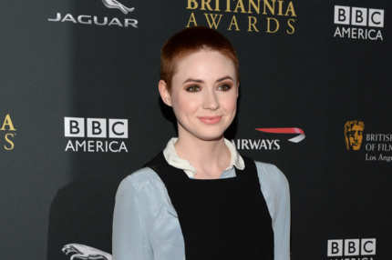 BEVERLY HILLS, CA - NOVEMBER 09:  Actress Karen Gillan with Stylebop.com attends the 2013 BAFTA LA Jaguar Britannia Awards presented by BBC America at The Beverly Hilton Hotel on November 9, 2013 in Beverly Hills, California.  (Photo by Michael Kovac/Getty Images for BAFTA LA)