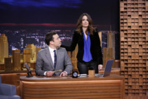 THE TONIGHT SHOW STARRING JIMMY FALLON -- Episode 0001 -- Pictured: (l-r) Host Jimmy Fallon and actress Tina Fey on February 17, 2014 -- (Photo by: Lloyd Bishop/NBC/NBCU Photo Bank)