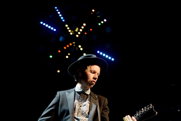 Musician Beck performs onstage during day 1 of the Life Is Beautiful Festival on October 26, 2013 in Las Vegas, Nevada.