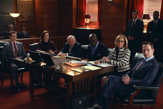 """Parallel Construction, Bitches""----Florrick/Agos and Lockhart/Gardner fight to keep Lemond Bishop as a client when he is arrested on a drug-related charge, which possibly resulted from a leak inside Alicia???€?™s firm. Meanwhile, the investigation into voter fraud in the gubernatorial election continues to move forward when Marilyn is approached by an agent in the Office of Public Integrity, on THE GOOD WIFE, Sunday, March 9 (9:00-10:00 PM, ET/PT) on the CBS Television Network. Pictured L-R: Matt Czuchry as Cary Agos, Julianna Margulies as Alicia Florrick, Wallace Shawn as Charles Lester, Mike Colter as Lemond Bishop, Christine Baranski as Diane Lockhart, and Josh Charles as Will Gardner Photo: CBS ?'??2014 CBS Broadcasting, Inc. All Rights Reserved"