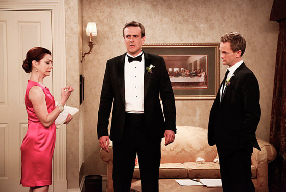 """The End of the Aisle"" — With only a half-hour to go, both Barney and Robin have panic attacks about their upcoming nuptials. Meanwhile, Marshall and Lily rewrite their old wedding vows, on the final season of HOW I MET YOUR MOTHER, Monday, xx (8:00-8:30 PM, ET/PT) on the CBS Television Network.  Pictured: Alyson Hannigan as Lily, Jason Segel as Marshall, Neil Patrick Harris as Barney. Photo: Richard Cartwright/CBS ©2014 CBS Broadcasting, Inc. All Rights Reserved"