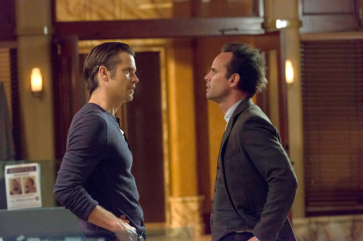 "JUSTIFIED -- ""Starvation"" -- Episode 512 (Airs Tuesday, April 1, 10:00 pm e/p -- Pictured: (L-R) Timothy Olyphant as Deputy U.S. Marshal Raylan Givens, Walton Goggins as Boyd Crowder -- CR: Prashant Gupta/FX"