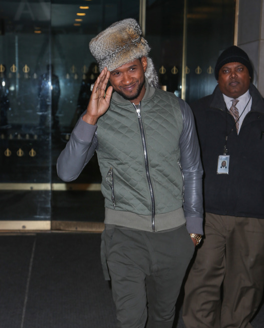 Usher is all smiles while leaving the 'Today' Show  in New York City.<P>Pictured: Usher<P><B>Ref: SPL705177  240214  </B><BR/>Picture by: Santi/Splash News<BR/></P><P><B>Splash News and Pictures</B><BR/>Los Angeles:	310-821-2666<BR/>New York:	212-619-2666<BR/>London:	870-934-2666<BR/>photodesk@splashnews.com<BR/></P>