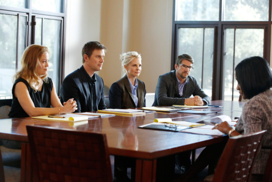 "PARENTHOOD -- ""Cold Feet"" Episode 520 -- Pictured: (l-r) Erika Christensen as Julia Braverman-Graham, Peter Krause as Adam Braverman, Monica Potter as Kristina Braverman, Zachary Knighton as Evan Knight -- (Photo by: Trae Patton/NBC)"