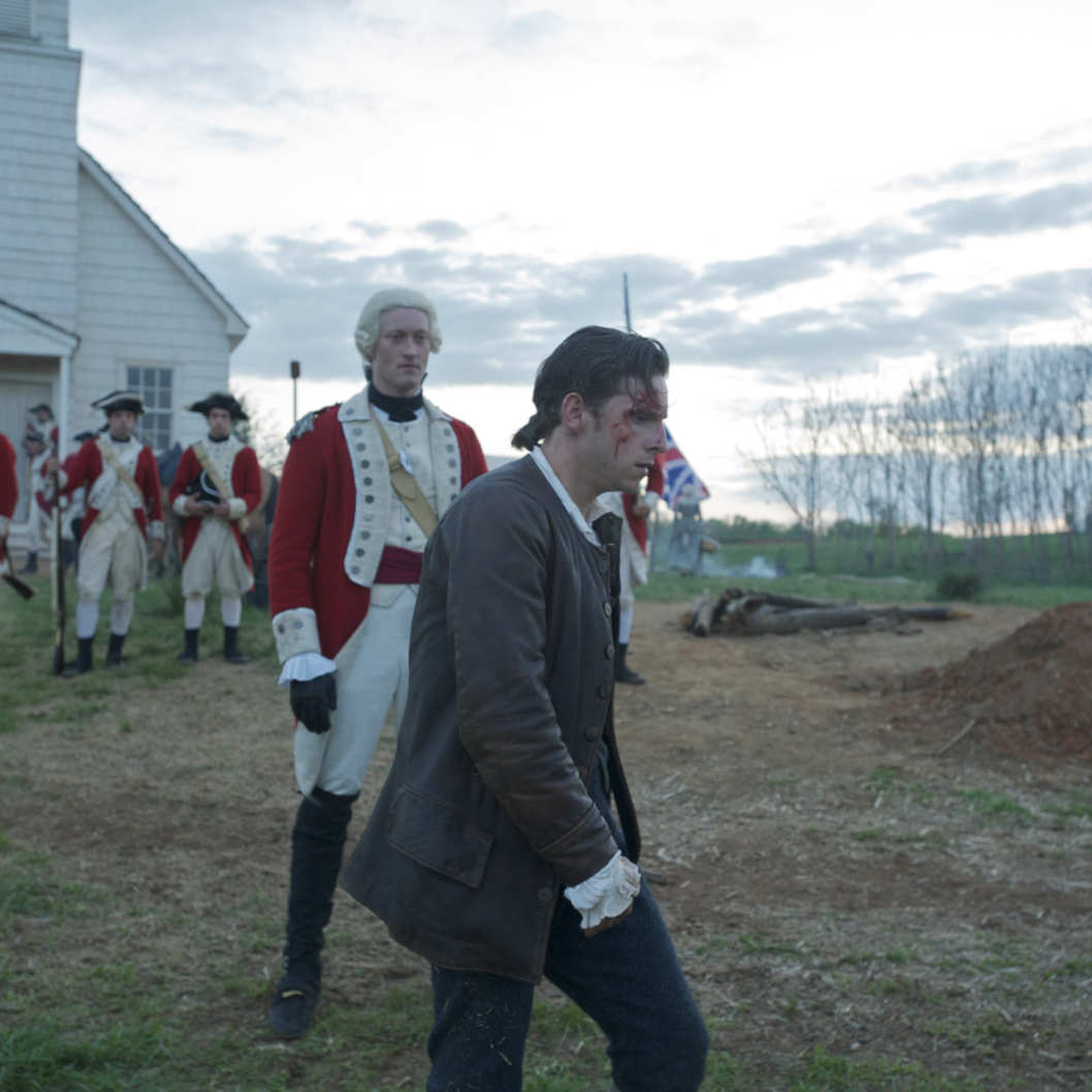 Samuel Roukin as Captain Simcoe and Jamie Bell as Abe Woodhull - TURN _ Season 1, Episode 1 - Photo Credit: Antony Platt/AMC
