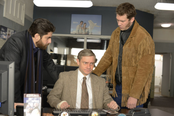 "FARGO ""A Muddy Road"" -- Episode 103 -- Airs Tuesday, April 29, 10:00 pm e/p) -- Pictured: (L-R) Adam Goldberg as Mr. Numbers, Martin Freeman as Lester Nygaard, Russell Harvard as Mr. Wrench. -- CR: Chris Large/FX"