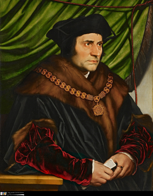 Hans Holbein, the Younger (1497/1498 - 1543) Sir Thomas More, 1527oil on oak panel29 1/2 in. x 23 3/4 in. (74.93 cm x 60.33 cm)Henry Clay Frick Bequest.Accession number: 1912.1.77