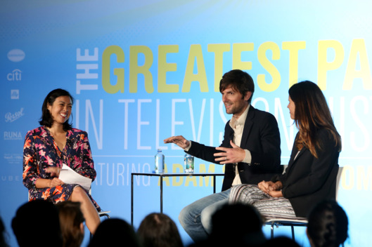 NEW YORK, NY - MAY 10:  (L-R) Denise Martin, Adam Scott and Naomi Scott speak onstage during Vulture Festival presented by New York Magazine at Milk Studios on May 10, 2014 in New York City.  (Photo by Anna Webber/Getty Images for New York Magazine)