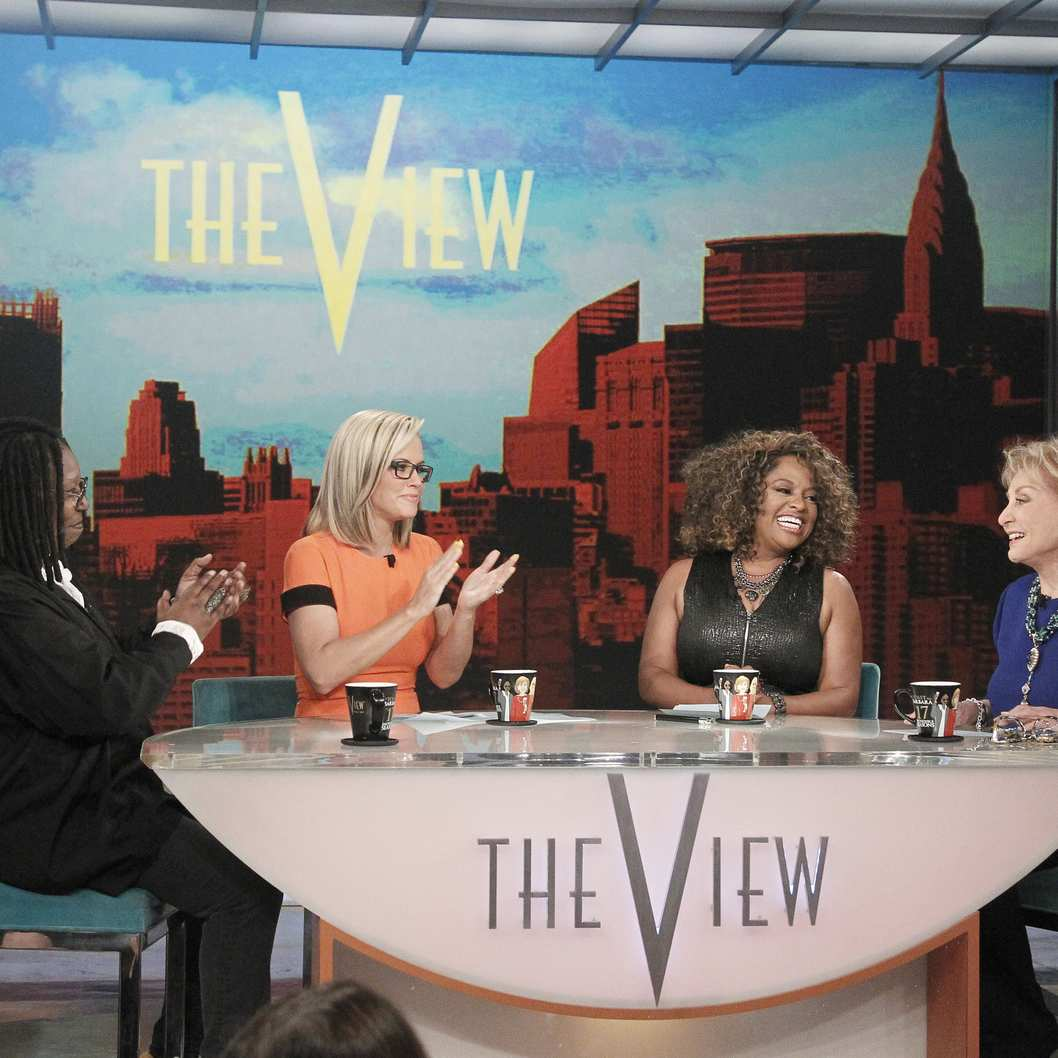 "THE VIEW - 5/15/14 - For the first time in television history, all 11 co-hosts of ABC's ""The View,"" present and past, shared the same stage, live, THURSDAY, MAY 15 on ABC to celebrate the show's creator Barbara Walters.  Walters is the last remaining co-host of the original panel of five women she helped assemble. ""The View"" airs Monday-Friday (11:00 a.m.- 12 noon, ET) on the ABC Television Network.  (ABC/Lou Rocco)WHOOPI GOLDBERG, JENNY MCCARTHY,  SHERRI SHEPHERD, BARBARA WALTERS"