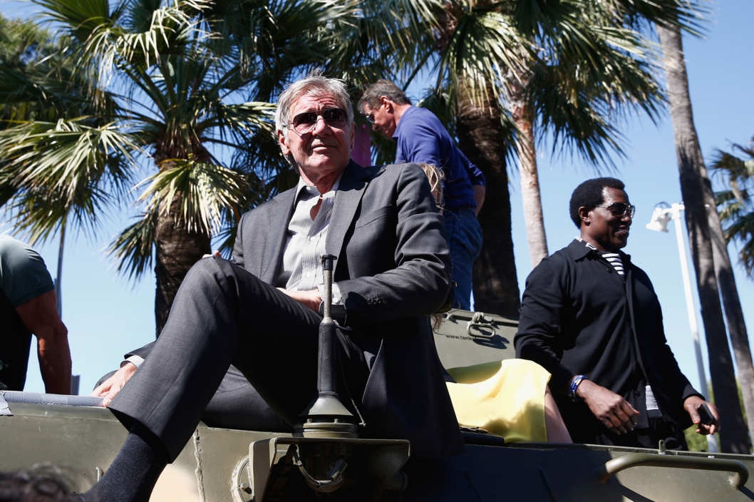 "CANNES, FRANCE - MAY 18:  Harrison Ford and Wesley Snipes attend ""The Expendables 3"" photocall during the 67th Annual Cannes Film Festival on May 18, 2014 in Cannes, France.  (Photo by Andreas Rentz/Getty Images)"