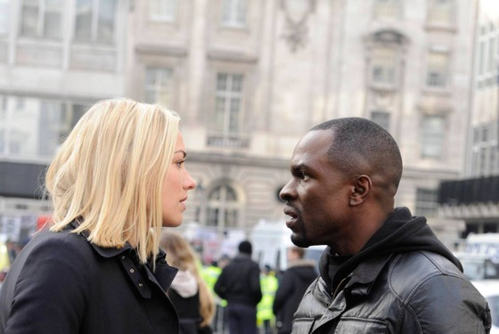 """24:  LIVE ANOTHER DAY:  Kate (Yvonne Strahovski, L) and Erik (Gbenga Akinnagbe, R) discuss their next move in the """"3:00 PM - 4:00 PM"""" episode of 24: LIVE ANOTHER DAY airing Monday, May 26 (9:00-10:00 PM ET/PT) on FOX. ©2014 Fox Broadcasting Co. Cr: Daniel Smith/FOX"""