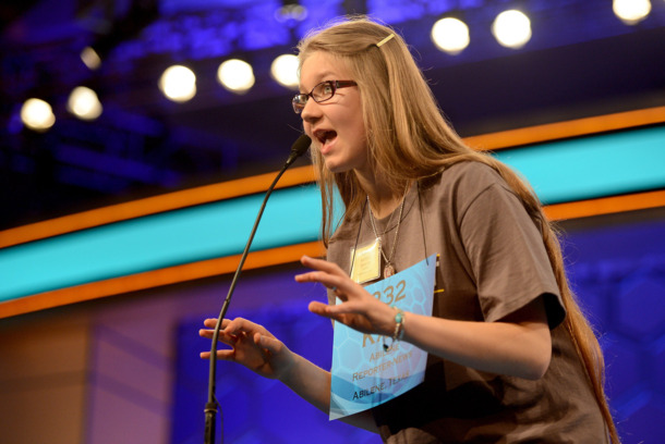 Speller Kate Miller, of Abilene, Texas, competes in the 2014 Scripps National Spelling Bee in National Harbor, Md., Wednesday, May 28, 2014. Miller qualified for the Bee semifinals. (Chuck Myers/MCT)