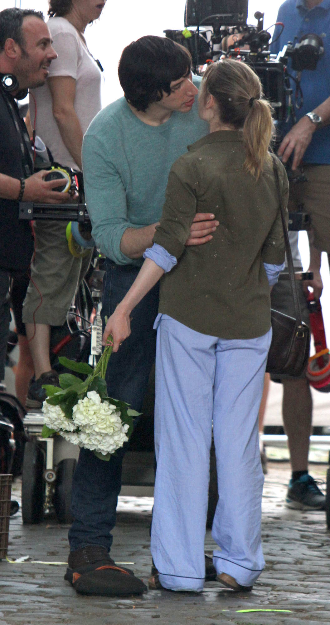 "Adam Driver seen giving flowers and a kiss to Gillian Jacobs as they film a scene on the set of the HBO series ""Girls"" in Bushwick, Brooklyn. <P> Pictured: Adam Driver and Gillian Jacobs <P> <B>Ref: SPL774558  040614  </B><BR/> Picture by: Jose Perez / Splash News<BR/> </P><P> <B>Splash News and Pictures</B><BR/> Los Angeles:	310-821-2666<BR/> New York:	212-619-2666<BR/> London:	870-934-2666<BR/> photodesk@splashnews.com<BR/> </P>"