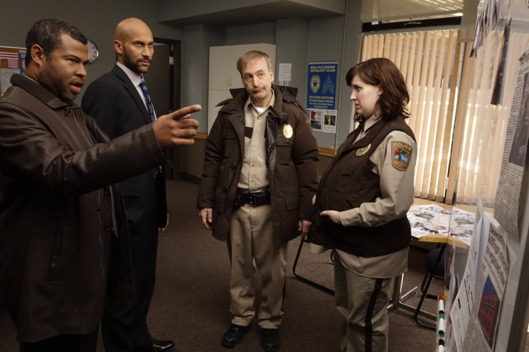 "FARGO ""A Fox, A Rabbit, and A Cabbage"" -- Episode 109 -- Airs Tuesday, June 10, 10:00 pm e/p) -- Pictured: (L-R) Jordan Peele as Agent Pepper, Keegan-Michael Key as Agent Budge, Bob Odenkirk as Bill Oswalt, Allison Tolman as Molly Solverson -- CR: Chris Large/FX"
