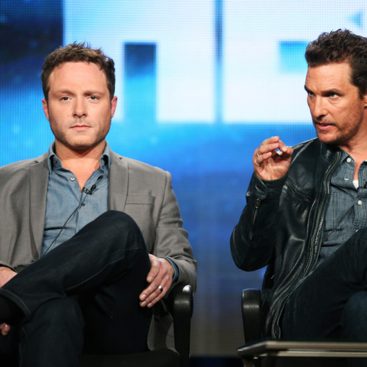 Executive Producer/Writer Nic Pizzolatto and actor Matthew McConaughey speak onstage during the 'True Detective' panel discussion at the HBO portion of the 2014  Winter Television Critics Association tour at the Langham Hotel on January 9, 2014 in Pasadena, California.
