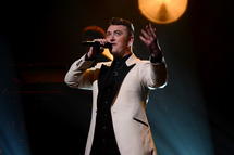 NEW YORK, NY - JUNE 17:  Sam Smith performs at The Apollo Theater on June 17, 2014 in New York City.  (Photo by Theo Wargo/Getty Images for Capitol Records)