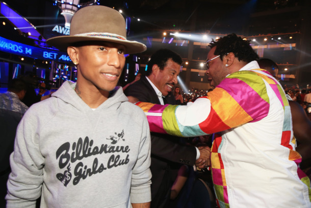 LOS ANGELES, CA - JUNE 29: (L-R) Recording artist Pharrell Williams, singer/songwriter and Lifetime Achievement Honoree Lionel Richie and rapper Busta Rhymes attend the BET AWARDS '14 at Nokia Theatre L.A. LIVE on June 29, 2014 in Los Angeles, California.  (Photo by Christopher Polk/BET/Getty Images for BET)
