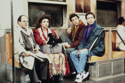 SEINFELD -- Pictured: (l-r) Jason Alexander as George Costanza, Julia Louis-Dreyfus as Elaine Benes, Michael Richards as Cosmo Kramer, Jerry Seinfeld as Jerry Seinfeld -- Photo by: NBCU Photo Bank
