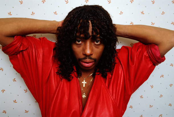 "WEST HOLLYWOOD, CA - 1987:  ""Super Freak"" funk and soul singer Rick James poses during a 1987 West Hollywood, California photo session. Plagued with a history of drug and alcohol abuse, James died of appare"