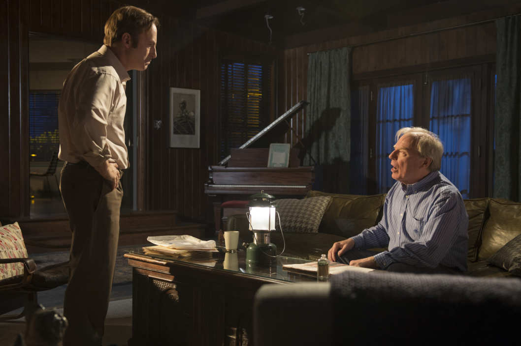 Bob Odenkirk as Saul Goodman, Michael McKean as Chuck - Better Call Saul _ Season 1, Episode 1 - Photo Credit: Ursula Coyote/AMC
