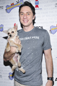 NEW YORK, NY - JULY 12:  Zach Braff and Taco the dog attend Broadway Barks 16 at Shubert Alley on July 12, 2014 in New York City.  (Photo by Jenny Anderson/WireImage)