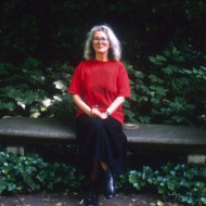18 Jun 1988, Paris, France --- English novelist Angela Carter (1940-1992) sitting on a park bench. --- Image by © Sophie Bassouls/Sygma/Corbis