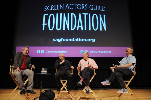 "NEW YORK, NY - JULY 22: (L-R) David Edelstein, Wallace Shawn, Andrew Gregory and Jonathan Demme speak during the SAG Foundation Presents A Conversations With ""A Master Builder"" at NYIT Auditorium on Broadway on July 22, 2014 in New York City.  (Photo by Ilya S. Savenok/Getty Images for SAG Foundation)"