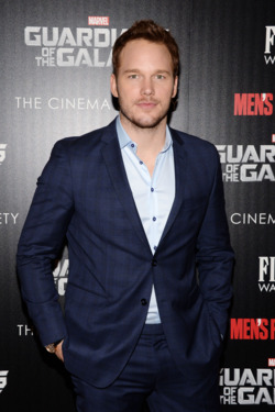 "Chris Pratt==The Cinema Society with Men's Fitness and FIJI Water host a special screening of Marvel's ""Guardians of the Galaxy""==The Crosby Street Hotel, NY==July 29, 2014==©Patrick McMullan.com==Photo - Clint Spaulding/PatrickMcMullan.com=="