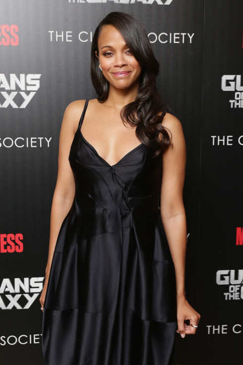 "NEW YORK, NY - JULY 29:  Actress Zoe Saldana attends The Cinema Society with Men's Fitness and FIJI Water special screening of Marvel's ""Guardians of the Galaxy"" at Crosby Street Hotel on July 29, 2014 in New York City.  (Photo by Neilson Barnard/WireImage)"