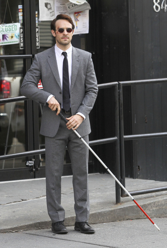 "First look at the new Netflix TV series ""Daredevil"" filming in Greenpoint, Brooklyn. Charlie Cox is pictured playing the titled role character as the blind lawyer turned costumed superhero. <P> Pictured: Charlie Cox <P><B>Ref: SPL812107  040814  </B><BR/> Picture by: Splash News<BR/> </P><P> <B>Splash News and Pictures</B><BR/> Los Angeles:	310-821-2666<BR/> New York:	212-619-2666<BR/> London:	870-934-2666<BR/> photodesk@splashnews.com<BR/> </P>"