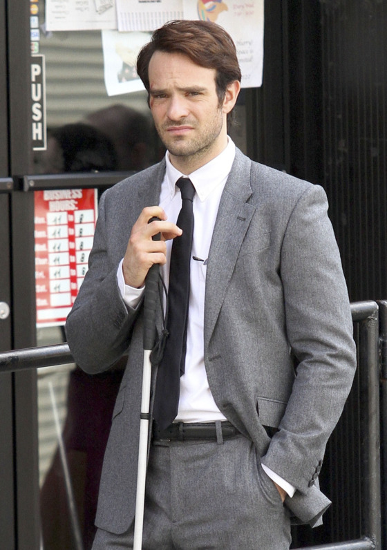 """First look at the new Netflix TV series """"Daredevil"""" filming in Greenpoint, Brooklyn. Charlie Cox is pictured playing the titled role character as the blind lawyer turned costumed superhero. <P> Pictured: Charlie Cox <P><B>Ref: SPL812107  040814  </B><BR/> Picture by: Splash News<BR/> </P><P> <B>Splash News and Pictures</B><BR/> Los Angeles:310-821-2666<BR/> New York:212-619-2666<BR/> London:870-934-2666<BR/> photodesk@splashnews.com<BR/> </P>"""