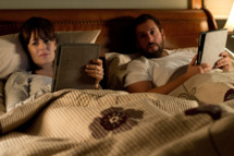 Left to right: Rosemarie DeWitt plays Helen Truby and Adam Sandler plays Don Truby in MEN, WOMEN, AND CHILDREN, from Paramount Pictures and Indian Paintbrush Productions.