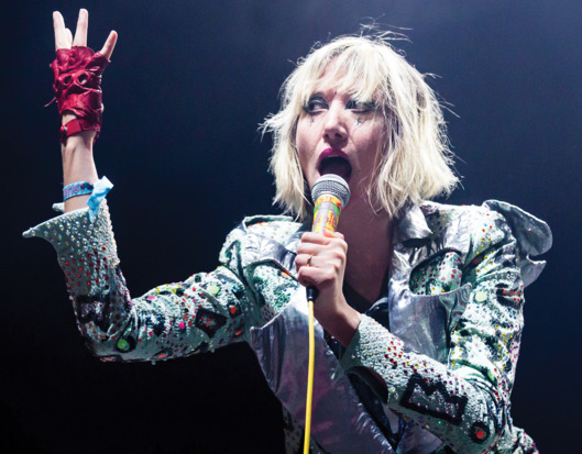 LOS ANGELES, CA - AUGUST 24:  Vocalist Karen O of Yeah Yeah Yeahs performs at the 10th annual FYF music festival at Los Angeles Historical Park on August 24, 2013 in Los Angeles, California.  (Photo by Chelsea Lauren/WireImage)