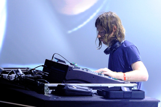 PARIS, FRANCE - OCTOBER 28:  Aphex Twin performs on stage during day one of the Pitchfork Music Festival at the Grande Halle de La Villette on October 28, 2011 in Paris, France.  (Photo by Kristy Sparow/Getty Images)