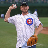 CHICAGO, IL - SEPTEMBER 03:  Actor Chris Pratt plays catch before throwing a ceremonial first pitch before the Chicago Cubs take on the Milwaukee Brewers at Wrigley Field on September 3, 2014 in Chicago, Illinois.  (Photo by Jonathan Daniel/Getty Images)