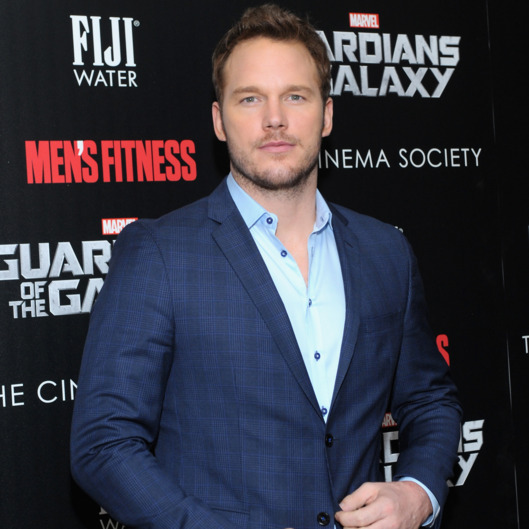 "NEW YORK, NY - JULY 29:  Actor Chris Pratt attends The Cinema Society with Men's Fitness & FIJI Water host a screening of ""Guardians of the Galaxy"" on July 29, 2014 in New York City.  (Photo by Andrew Toth/Getty Images for FIJI Water)"