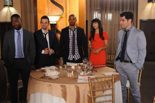 "NEW GIRL:  The gang (L-R:  Lamorne Morris, Jake Johnson, Damon Wayans, Jr., Hannah Simone and Max Greenfield) attend the last wedding of the summer in the ""The Last Wedding"" season premiere episode of NEW GIRL airing Tuesday, Spet. 16 (9:00-9:30 PM ET/PT) on FOX.  ?2014 Fox Broadcasting Co. Cr:  Ray Mickshaw/FOX."