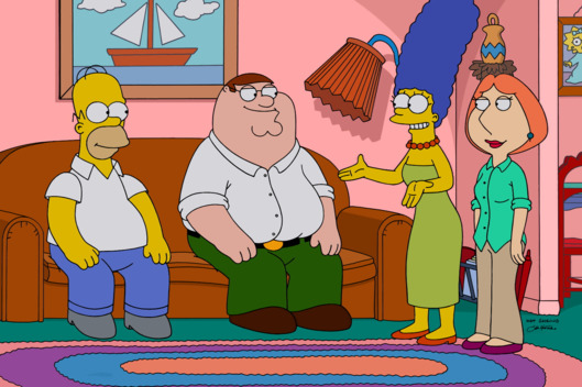 "FAMILY GUY: The Griffins visit the Simpson home in the season premiere ""The Simpsons Guy"" episode of FAMILY GUY airing Sunday, September 28 (9:00-10:00 PM ET/PT) on FOX.  FAMILY GUY/THE SIMPSONS  ? and ? 2014 TCFFC ALL RIGHTS RESERVED."