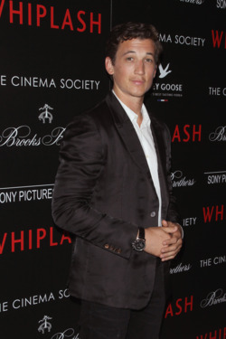 """NEW YORK, NY - SEPTEMBER 29:  Actor Miles Teller attends The Cinema Society & Brooks Brothers screening of Sony Pictures Classics' """"Whiplash"""" at Paley Center For Media on September 29, 2014 in New York City.  (Photo by Jim Spellman/WireImage)"""