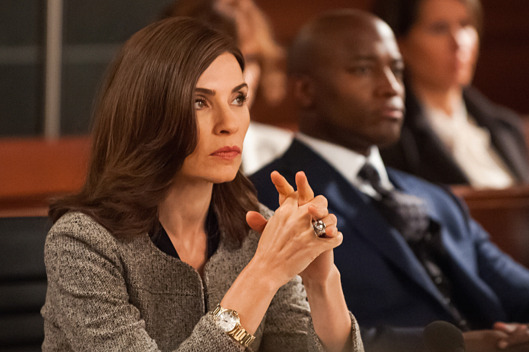 """Dear God"" -- Cary\'s freedom lies in the hands of his pretrial service officer, Joy Grubick, as she interviews his colleagues to determine whether or not he should remain behind bars. Meanwhile, Alicia and Dean find themselves in unfamiliar territory when a client\'s case ends up in Christian Arbitration, on THE GOOD WIFE, Sunday, Oct. 5 (9:30-10:30 PM, ET, 9:00-10:00 PM, PT), on the CBS Television Network. Pictured (L-R) Julianna Margulies  as Alicia Florrick and Taye Diggs Returns as Dean Levine-Wilkins Photo: Jeff Neumann ?'??2014 CBS Broadcasting, Inc. All Rights Reserved"