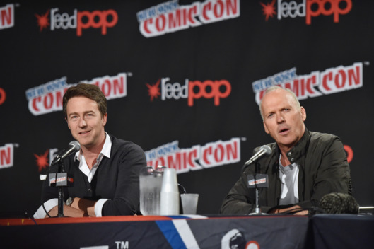 NEW YORK, NY - OCTOBER 10:  Actors Edward Norton (L) and Michael Keaton discuss their new movie 'Birdman' at 2014 New York Comic Con - Day 2 at Jacob Javitz Center on October 10, 2014 in New York City.  (Photo by Mike Coppola/Getty Images)