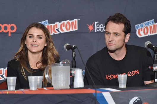 NEW YORK, NY - OCTOBER 10:  Actors Keri Russell (L) and Matthew Rhys speak during 'The Americans' panel at Jacob Javitz Center on October 10, 2014 in New York City.  (Photo by Mike Coppola/Getty Images)