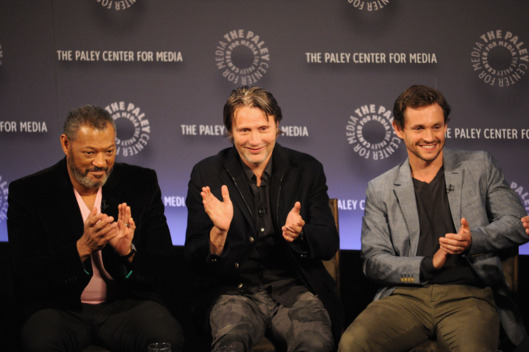 "NEW YORK, NY - OCTOBER 18:  (L-R) Laurence Fishburne, Mads Mikkelsen and Hugh Dancy attend the 2nd annual Paleyfest New York presents: ""Hannibal"" at Paley Center For Media on October 18, 2014 in New York, New York.  (Photo by Andrew Toth/Getty Images)"