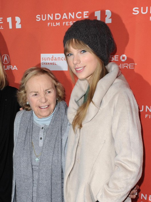 PARK CITY, UT - JANUARY 20:  Ethel Kennedy and Taylor Swift attend the 'Ethel' premiere held at the MARC Theatre during the 2012 Sundance Film Festival on January 20, 2012 in Park City, Utah. (Photo by Jonathan Leibson/Getty Images)  (Photo by C Flanigan/FilmMagic)