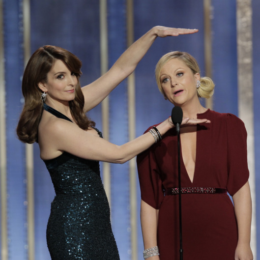 BEVERLY HILLS, CA - JANUARY 13: In this handout photo provided by NBCUniversal,  L to R Tina Fey and Amy Poehler host the 70th Annual Golden Globe Awards at the Beverly Hilton Hotel International Ballroom on January 13, 2013 in Beverly Hills, California. (Photo by Paul Drinkwater/NBCUniversal via Getty Images)
