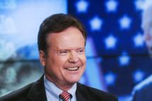 """MEET THE PRESS -- Pictured: (l-r) – Fmr. Sen. Jim Webb (D-VA) appears on """"Meet the Press"""" in Washington, D.C., Sunday, Oct. 5, 2014.   (Photo by: William B. Plowman/NBC/NBC NewsWire)"""