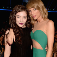 LOS ANGELES, CA - NOVEMBER 23:  Singers Lorde (L) and Taylor Swift attend the 2014 American Music Awards at Nokia Theatre L.A. Live on November 23, 2014 in Los Angeles, California.  (Photo by Jeff Kravitz/AMA2014/FilmMagic)